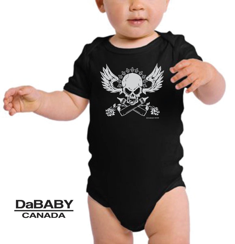 Skull And Crossbottles Bodysuit Tattoo Baby Clothes Newborn