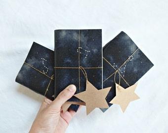 LOT de 3 / carnet de Constellation, étoile ordinateur portable, Indigo carnet de croquis, «notebook horoscope»