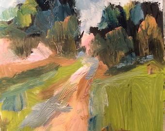 Peinture de paysage, route de campagne, l'art expressionniste originale, Russ Potak