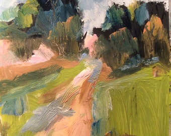 Landscape Painting, country road , original expressionist art, Russ Potak