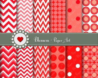 Red Chevron Digital Paper, Polka Dots, Red Digital Papers, Decoupage, Scrapbooking - Cardmaking - Collage Sheet - 1595