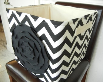 "EEx Large Toy basket 13""x14""x13""(choose COLORS)-Fabric Storage Organizer-Baby Gift- Chevron-""Black Rose on Black/White Zigzag"""