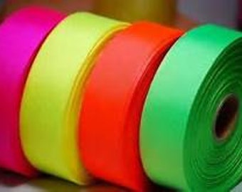 """1.5"""" x 25 yds Grosgrain -Neon Yellow or Your Choice of Color"""
