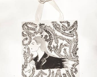 Hand-painted cotton bag 'LEA'