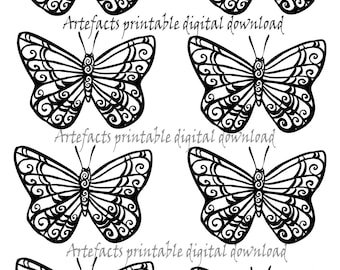 Printable digital butterflies, collage for scrapbook,cards, paper crafting,digital download