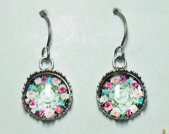 Floral Manda Earrings Titanium Hypoallergenic For Sensitive Ears Black and White