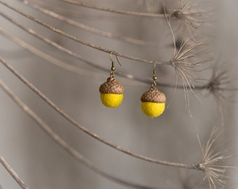Acorn earrings with real acorn cap and felted wool beads in bright yellow color - unusual brass jewelry
