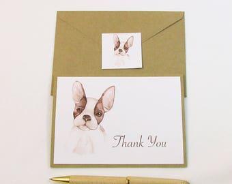 Dog Thank You Card / French Bulldog Watercolor Thank You Card / Dog Sitter Thank You Card
