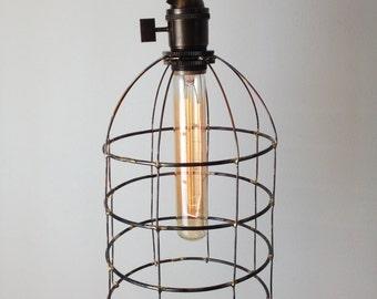 Bell Jar cage light, on/off brass socket, pendant lighting, hanging light, swag light, chandelier lighting, table lamp, office light