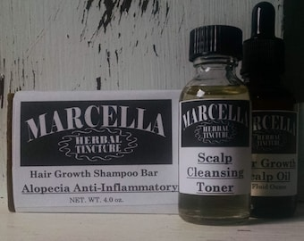 3 Step In Home Alopecia Hair Loss Treatment: All Natural Herbal Infused Cleansing Toner, Scalp Oil, Shampoo Bar Detoxifies and Balances pH