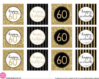 60th Birthday Toppers Black Gold Glitter 60th Birthday Decor Printable Birthday Party Decor 60th Birthday Favor Tags Gift Tags Digital DIY