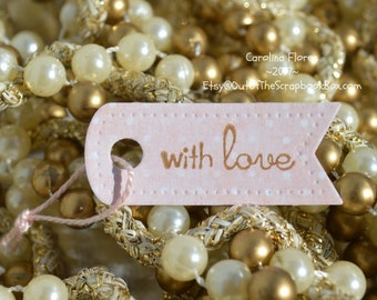 Tags, Labels, Tags  Set, Small Handmade Tags, Polka Dot Tags, With Love Tags, Gift Wrapping, Valentine's Tags, Gift For Her, Small Tags