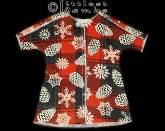 Micro Preemie Clothes, Preemie Christmas Pajamas, NICU Approved Gown, Premie Boy Clothing,  Holiday Plaid,  Flannel Pyjamas, UCIN, Prem