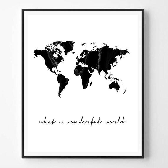 world map print what a wonderful world marble print black