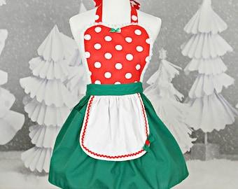 CHRISTMAS apron,  MINNIE MOUSE apron, Minnie Mouse Christmas apron, womens apron, ready to ship, red  Polka Dots Christmas apron