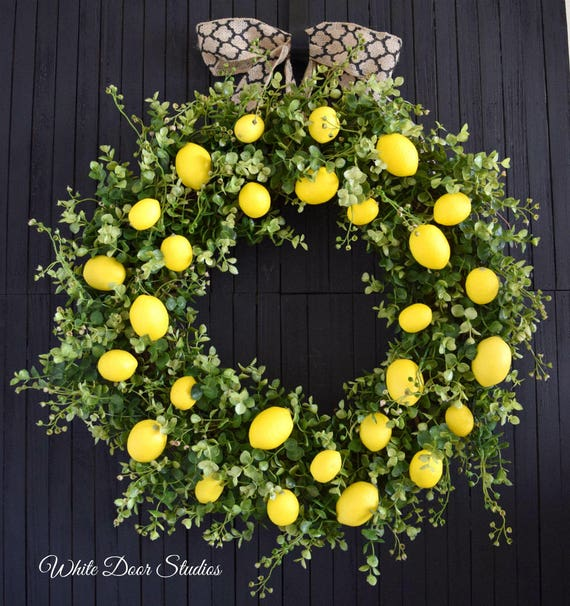 Farmhouse Lemons and Greenery Wreath for Front Door or Kitchen - Ready To Ship