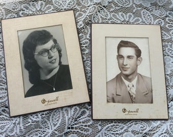Vintage Lot of 2 photos from the 1950s woman with cat eye glasses