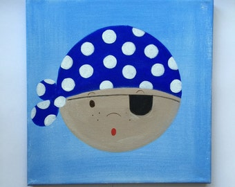 Pirate canvas painting. Kids Room Decor. Available in Blue, Red and Lime Green.
