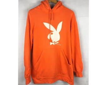 RHD PLAYBOY Rabbit Head Design Long Sleeve Hoodies Medium Size with Big Logo