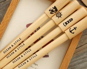 Ocean Style Natural Wood Ball Pen Ballpoint Pen Zakka