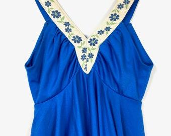 1960s Embroidered Peplum Dress