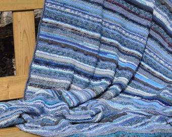 Crochet striped throw blanket