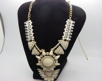 beige with Rhinestones and beads on chain gold necklace