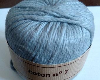 6 Skeins Vintage Berger Du Nord Yarn ~ Light Aqua ~ Coton no 7 ~ #8649 ~ 46305