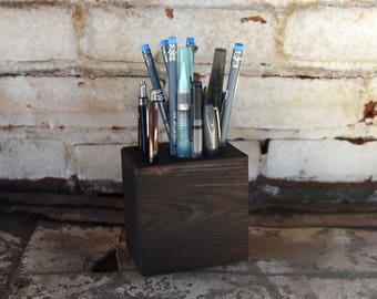 Blackened Wood Desk Caddy, Desk Organizer, Desk Accessories, Pencil Holder, Tool Caddy, Office, Reclaimed Wood, Gift for Husband Peg and Awl