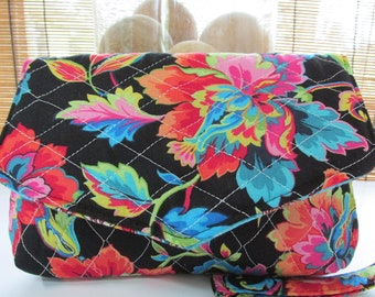 Small Black/Turquoise Quilted Floral Print Clutch, Wristlet, Makeup Bag, Purse