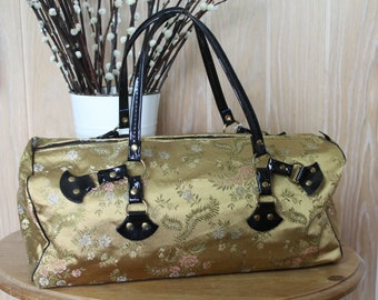 Vintage Brocade Handbag/Holdall/Luggage/1960's Brocade Bag/Vintage Overnight Bag/SALE (1E)