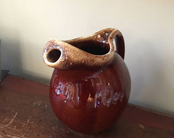 Beautiful Hull Jug - Rich Chocolate Brown Color & Mottled Rim - Vintage 1960s