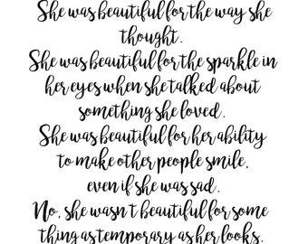 She Was Beautiful, F. Scott Fitzgerald Art Print