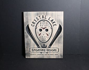 Crystal Lake Sporting Goods | Carved Wooden Store Sign | Horror Movie Fans | Friday the 13th Camp Jason Voorhees Memorabilia