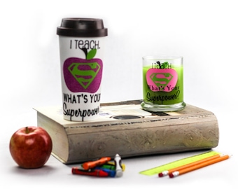 I Teach What's Your Superpower Travel Mug and Candle Set