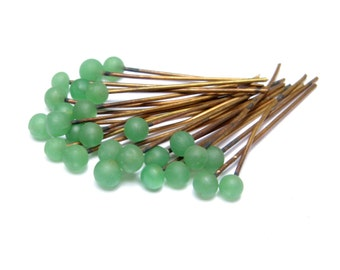VINTAGE Green GLASS Tipped HEADPINS Pins 10 Pieces Jewelry Brass Design Parts Supplies Beads Embellishment Old Findings Miriam Haskell