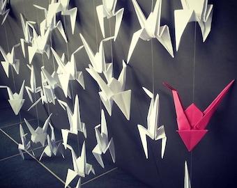 Garlands of origami cranes (50 cranes) curtain