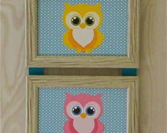 Kids Room Nursery Owls On Turquoise- Picture Collage Hanging Wall Art Decor