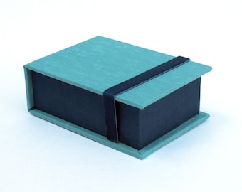 Fujifilm Instax mini | Business Card Box | Photo Display Box | Handmade using imported bookcloth |  Graduation Gift | Album | Turquoise/Teal