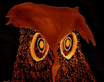 Bird, Owl, Wise Brown Ow, Owl print, Owl Digital Print digital print
