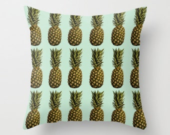 Pineapple Pillow -  Retro Pillow Cover -  Food Pillow -  Fruit Pillow Case - Blue Vintage Pineapple Cushion 16x16 18x18 20x20 Pillow Cover