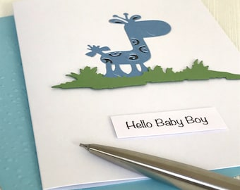 Giraffe New Baby Boy Card - New Baby Boy Card - Hello Baby Boy - Giraffe Card - New Baby Card - Handmade New Baby Boy Card - Welcome Baby