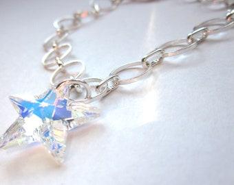 Swarovski Star Bracelet, Silver Link Bracelet, Adjustable Bracelet, Crystal Star Bracelet