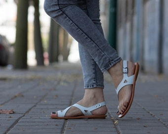 White Leather Sandals,Asymmetric Sandals, Summer Shoes, White Sandals, Flat Sandals , Free Shipping