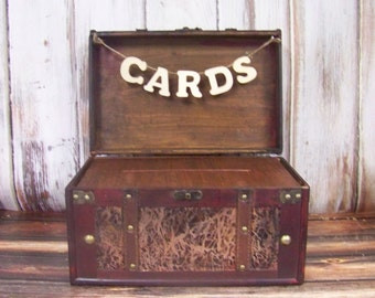 Wedding Card Box with Banner-Rustic-Shabby Chic-Advice Card Box