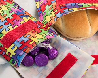Reusable sandwich and snack bags.  Set of 2, one of each. 14 fabric choices.