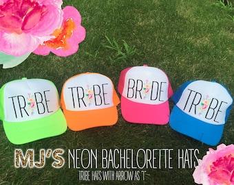 NEON Bachelorette Party Hat / BRIDAL HATS - arrow as I Bridesmaid Neon Trucker Cap / Pool Party /Vegas Miami / Beach Vacation / Bridesmaid