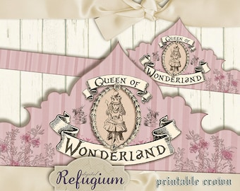 Alice im Wunderland Krone Queen of Wonderland pink  digitale Datei Instant download ausdruckbar