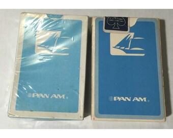 2 packs original unopened 1960's era Pan American Pan Am Airlines Playing Cards