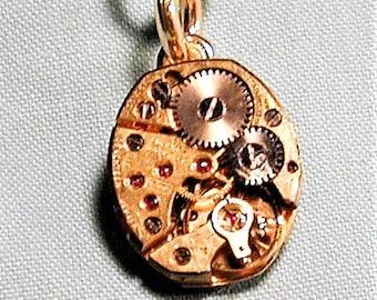 Steampunk Vintage 1940's  Bulova Watch Movement Pendant with Chain OOAK #50